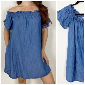ALTAR'D STATE Chambray Ruffle Off Shoulder Dress